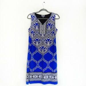 JM Collection Gorgeous Blue Print Dress Runs Large